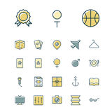 Tunn linje symboler för fritid, lopp och sport Arkivbild