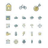 Tunn linje symboler för fritid, lopp och sport Arkivfoto