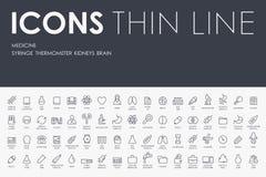 Tunn linje symboler för medicin stock illustrationer