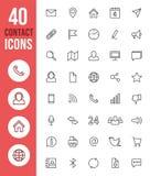 Tunn linje symboler för social massmediavektor och kontaktsymboler vektor illustrationer