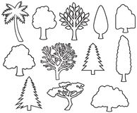 Tunn linje symboler för träd royaltyfria bilder