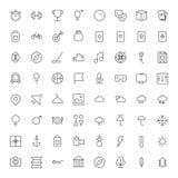 Tunn linje symboler för fritid, sport, lopp och väder Arkivfoto