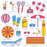 Tunn linje symbolssamlingsuppsättning för sommarsemester Vektoröversiktsdesign stock illustrationer