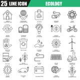 Tunn linje symbolsuppsättning av den ekologiska energikällan, miljö- säkerhet Royaltyfria Bilder