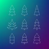 Tunn linje symbolsuppsättning av julgranar Arkivfoton