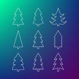 Tunn linje symbolsuppsättning av julgranar Royaltyfri Foto