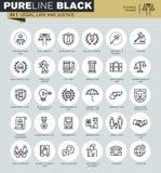 Tunn linje symbolsuppsättning av lagligt, lag och rättvisa royaltyfri illustrationer