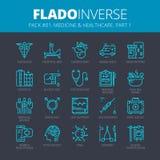 Tunn linje symbolsuppsättning av medicin och sjukvården Modern plan översiktsdesign Högvärdig kvalitets- pictogramsamling stock illustrationer