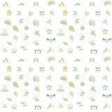Tunn linje symbolsuppsättning av sporten, sommarolympiska spel Arkivbild