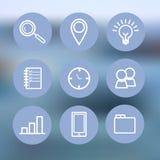 Tunn linje symbolsuppsättning Blå symbol för affären, ledning, finans, strategi, planläggning, analytics, bankrörelsen Royaltyfri Foto