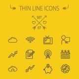 Tunn linje symbolsuppsättning för affär vektor illustrationer