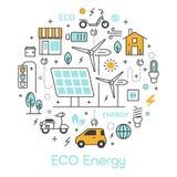 Tunn linje symbolsuppsättning för ECO-gräsplanenergi med det sol- batteriet och väderkvarnen Arkivbilder