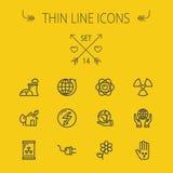 Tunn linje symbolsuppsättning för ekologi stock illustrationer