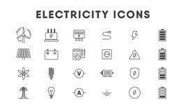 Tunn linje symbolsuppsättning för elektricitet energetics vektor royaltyfri illustrationer