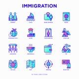 Tunn linje symbolsuppsättning för invandring stock illustrationer