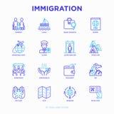 Tunn linje symbolsuppsättning för invandring vektor illustrationer