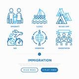 Tunn linje symbolsuppsättning för invandring royaltyfri illustrationer