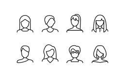 Tunn linje symbolsupps?ttning f?r kvinnligt olikt typtecken f?r framsida vektor royaltyfri illustrationer