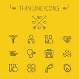 Tunn linje symbolsuppsättning för medicin royaltyfri illustrationer