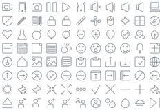 Tunn linje symbolsuppsättning för multimedia och för affär Royaltyfri Illustrationer