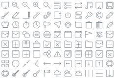 Tunn linje symbolsuppsättning för multimedia och för affär Arkivbild