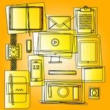 Tunn linje symbolsuppsättning för plan design stock illustrationer