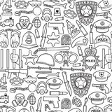Tunn linje symbolsuppsättning för polisen vektor illustrationer