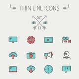 Tunn linje symbolsuppsättning för teknologi Arkivbild