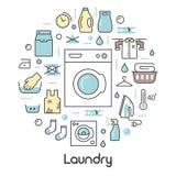 Tunn linje symbolsuppsättning för tvätteriservice med tvättinrättningen vektor illustrationer