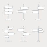 Tunn linje symbolsuppsättning för vägmärke Royaltyfri Fotografi