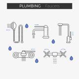 Tunn linje symbolsuppsättning för vattenkranvattenklapp Stock Illustrationer