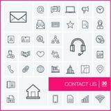 Tunn linje symbolsuppsättning för vektor kontakta post phone oss stock illustrationer