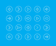 Tunn linje symbolsuppsättning - pil Arkivfoto