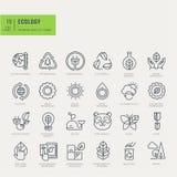 Tunn linje symbolsuppsättning Symboler för miljö- Royaltyfri Bild