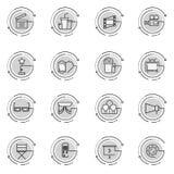 Tunn linje symbolsuppsättning av bioskytte, filmdanande, filmproduktion, fritidunderhållning, Royaltyfria Foton