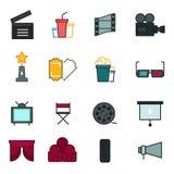 Tunn linje symbolsuppsättning av bioskytte, filmdanande, filmproduktion, fritidunderhållning, Arkivfoto