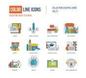 Tunn linje symbolsuppsättning för färg Primär utbildning, tillbaka till skolan Royaltyfri Bild