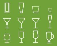 Tunn linje symbolsymbol för dryckvektor coctailar royaltyfri illustrationer