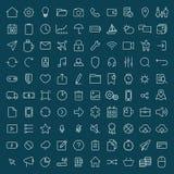 100 tunn linje universell symbolsuppsättning av finans, marknadsföring, shoppi royaltyfri illustrationer