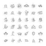 Tunn linje uppsättningsupporttjänstdesign för försäkringsymbol för rengöringsduk och App Royaltyfri Fotografi
