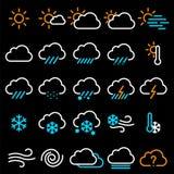 Tunn linje vädersymbolsuppsättning Arkivfoton