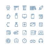 Tunn linje vektorsymboler för kontorsworkspace stock illustrationer