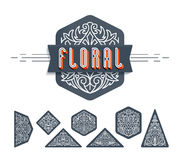 Tunn mono linje blom- dekorativa designbeståndsdelar, uppsättning av isolaten Arkivbild