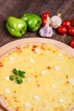 Tunn pizza med ost Fyra typer av ost Royaltyfri Fotografi