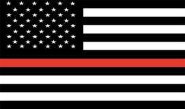Tunn röd linjebrandman Flag Vector flagga USA vektor illustrationer