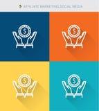 Tunn tunn linje symbolsuppsättning av filialmarknadsförings- och samkvämmassmedia, modern enkel stil royaltyfri illustrationer