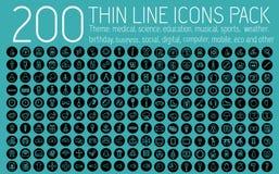 Tunna linjer begrepp för samling för pictogramsymbolsuppsättning royaltyfri illustrationer