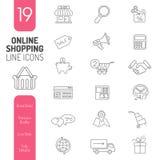 Tunna linjer rengöringsduksymbolsuppsättning för online-shopping stock illustrationer