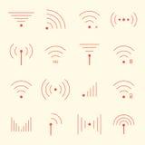 Tunna röda wifisymboler på gul bakgrund royaltyfri illustrationer
