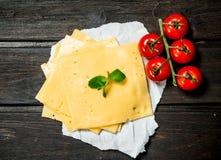 Tunna skivor av ost med tomater och en filial av mintkaramellen arkivfoto